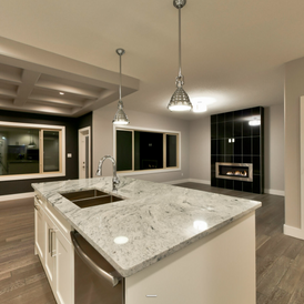 stone kitchen with grey stone flooring