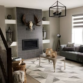 living room with grey and white sheet flooring