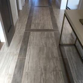 Wooden corridor with grey sheet flooring