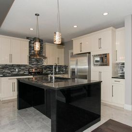 kitchen with grey stone flooring